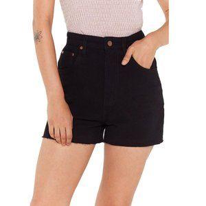 NASTYGAL | Raw Hem Black Denim Shorts